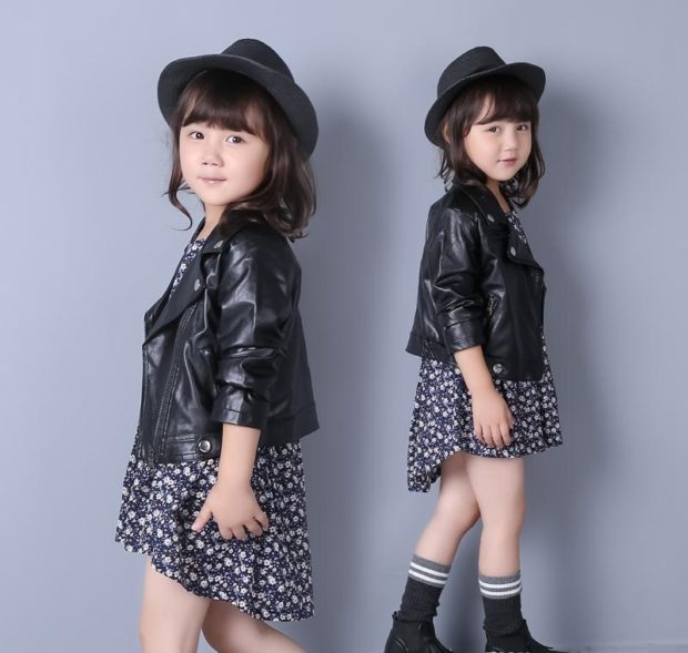 детская мода 2018 для девочек: косуха черная под платье асимметрия черное в белые цветы