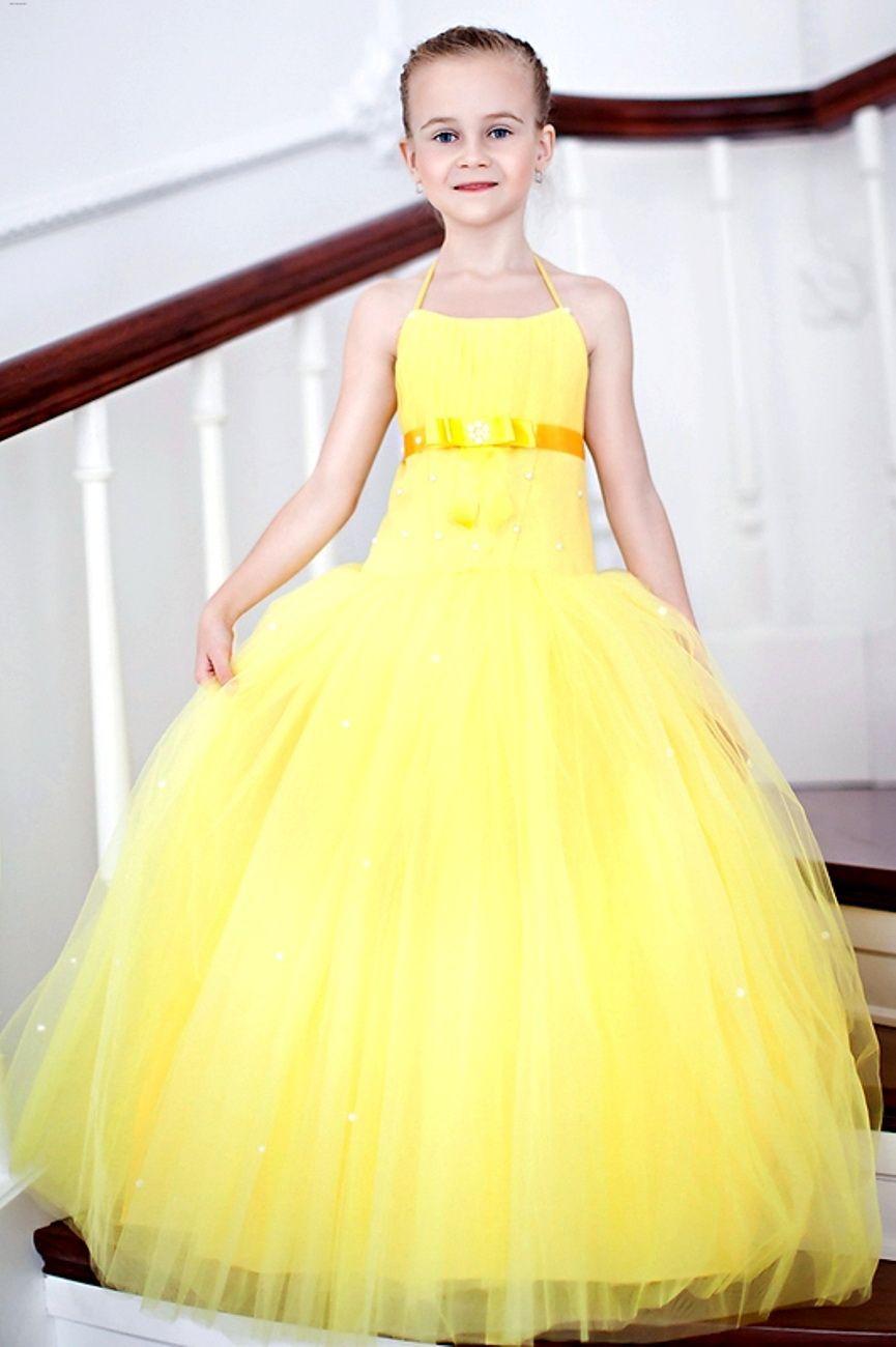 детская мода 2018 для девочек: желтое платье нарядное пышное длина макси