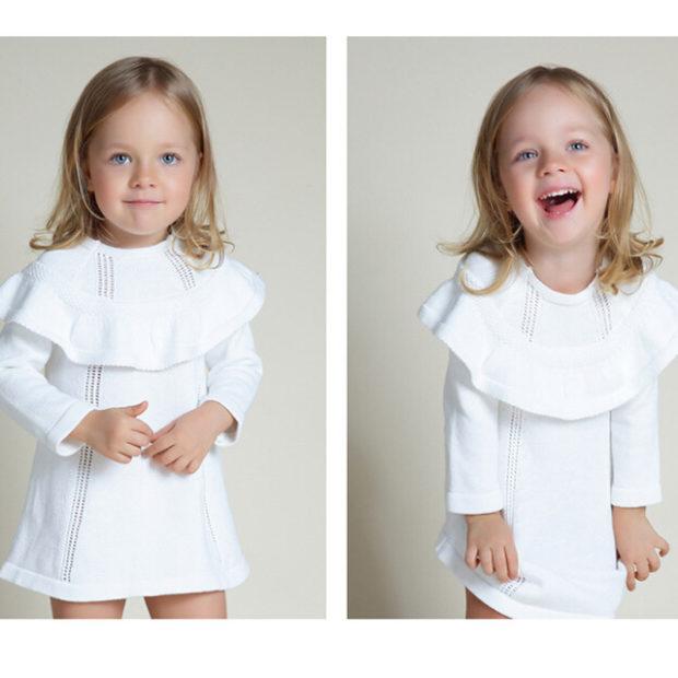 детская мода 2018 для девочек: белое платье с воланами