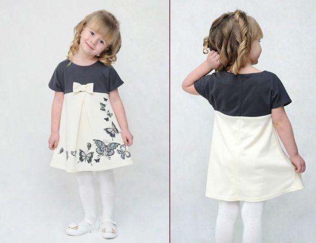 детская мода 2018 для девочек: платье белое с серым с бантиком