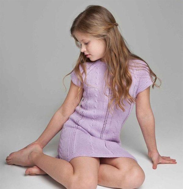 детская мода 2019-2020 для девочек: платье вязаное цвет лаванды