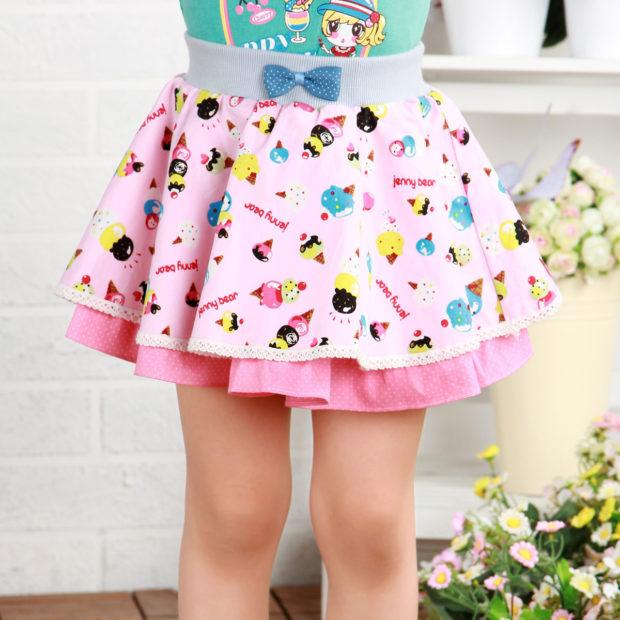 детская мода 2018 для девочек: розовая юбка воланами с рисунком