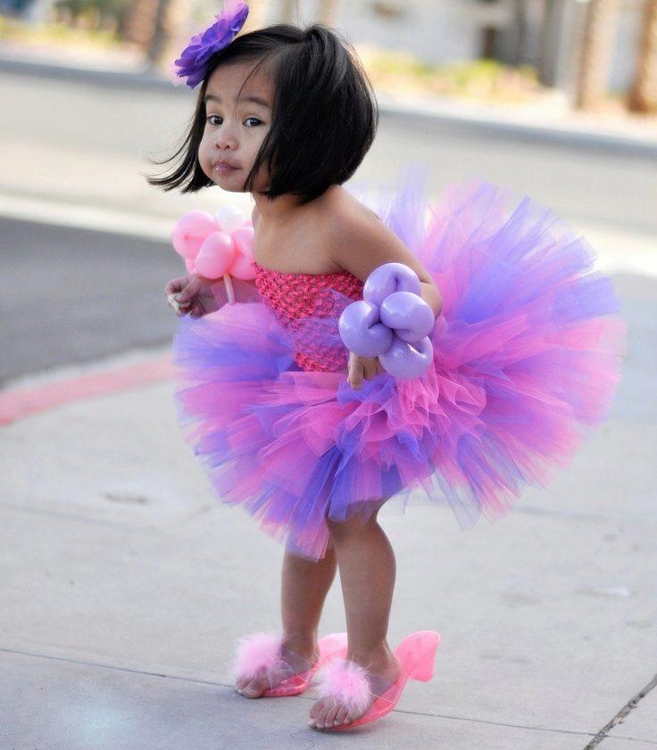 детская мода 2018 для девочек: розово-фиолетовая юбка пачка