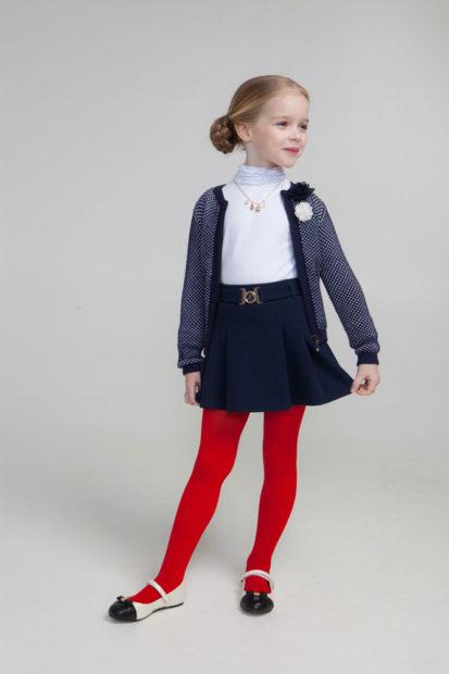 детская мода 2019-2020 для девочек: юбка темно-синяя с поясом