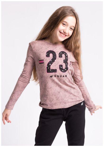 детская мода 2018 для девочек: лонгслив бледно-розовый с цифрами