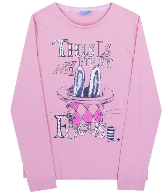 детская мода 2018 для девочек: лонгслив розовый с рисунком