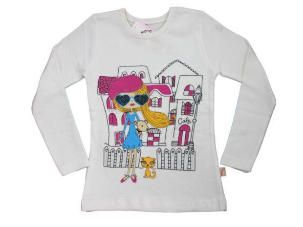 детская мода 2018 для девочек: лонгслив белый с рисунком