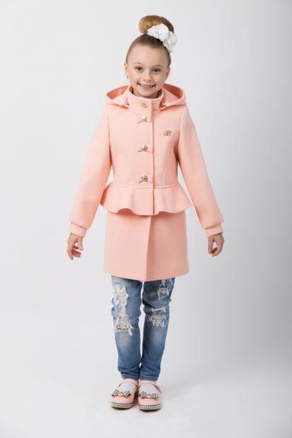детская мода 2019-2020 для девочек: пальто баска пудрового цветы