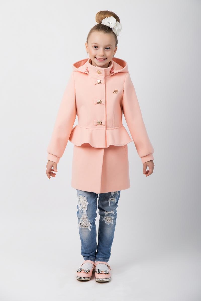 детская мода 2018 для девочек: пальто баска пудрового цветы