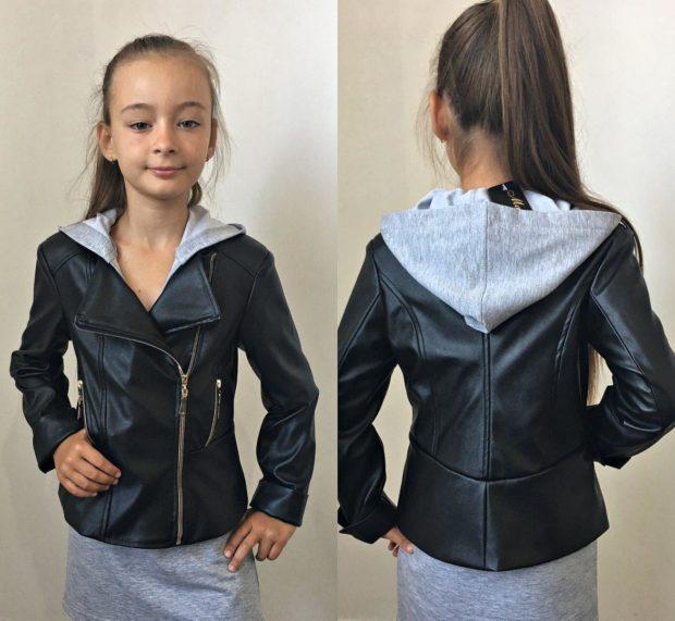 детская мода 2018 для девочек: косуха черная кожаная