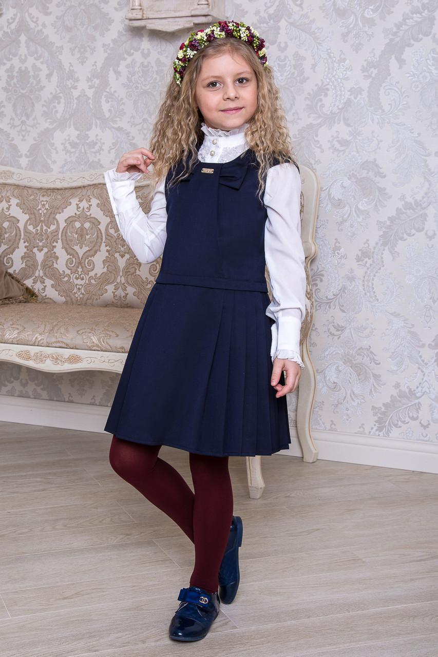 детская мода 2018 для девочек: синий сарафан в складку