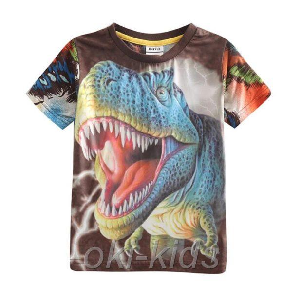детская мода 2018: футболка яркая с динозавром