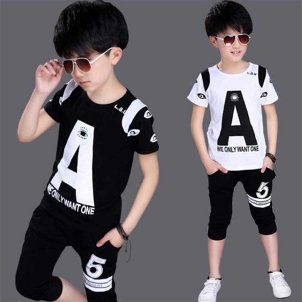 детская мода 2018: футболка черная белая с надписями