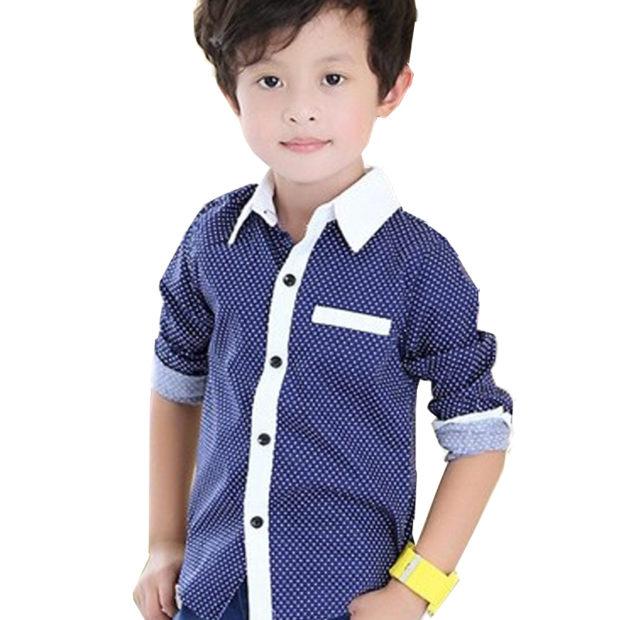 детская мода 2018: рубашка синяя в мелкий белый горох