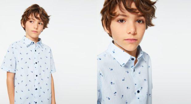 детская мода 2018: рубашка голубая с рисунком и коротким рукавом