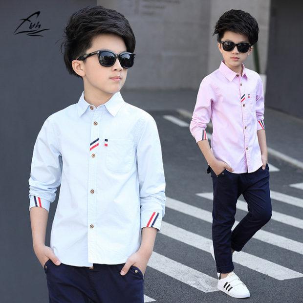 детская мода 2018: рубашка нежно-голубая нежно-розовая