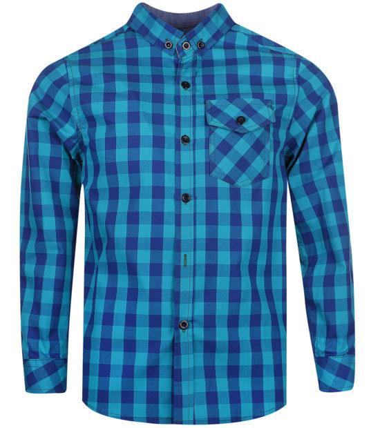 детская мода 2019-2020: рубашка синяя с голубым в клетку