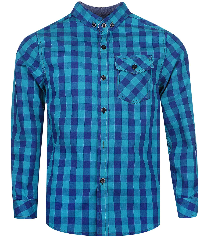 детская мода 2018: рубашка синяя с голубым в клетку
