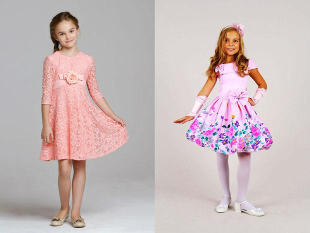 детская мода 2018: ажурное розовое платье рукав 3/4 платье розовое в цветы