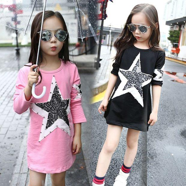 детская мода весна 2018: платье розовое черное со звездой