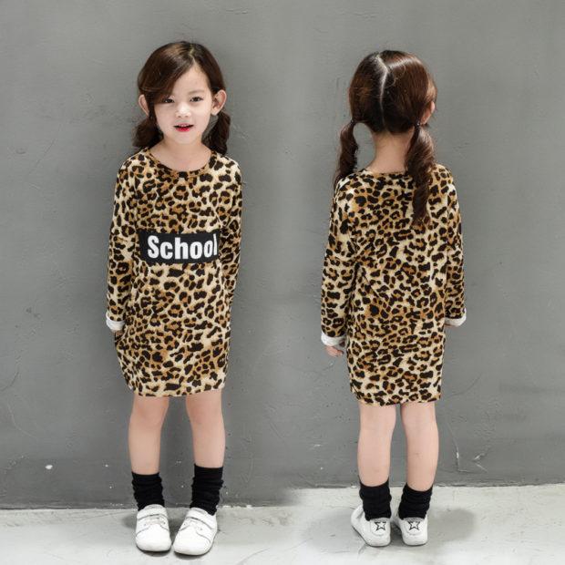 детская мода весна 2018: платье леопардовое