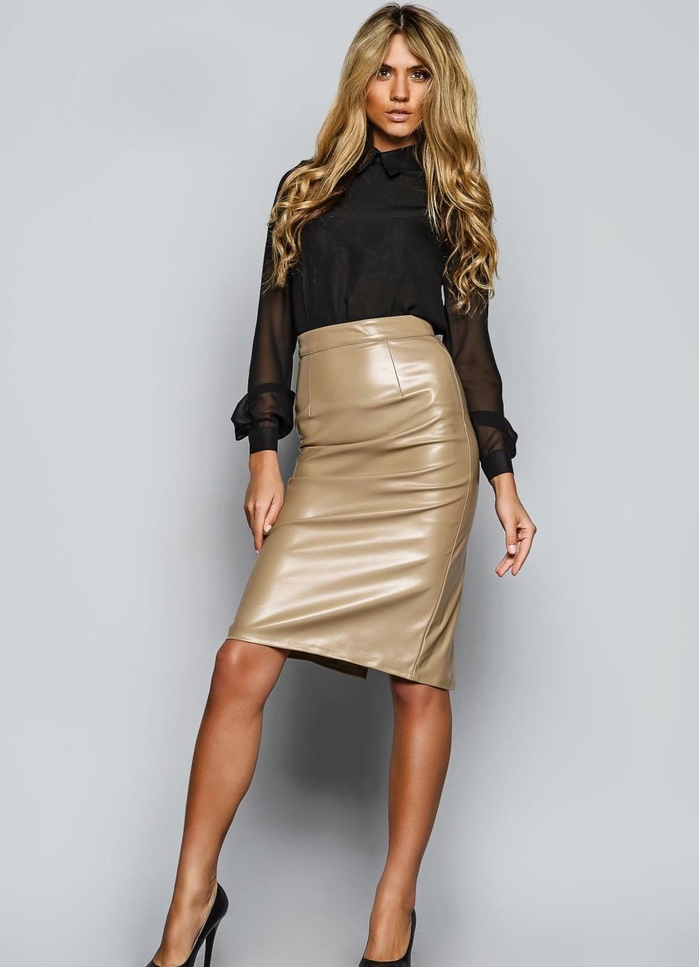 бежевая юбка высокий пояс под блузку черную прозрачную