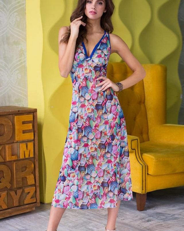 мода 2019-2020 года фото в женской одежде: платье в цветы без рукава