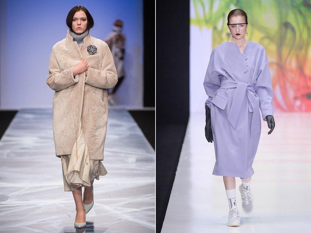 мода 2019-2020 года фото в женской одежде: пальто бежевое оверсайз цвет лаванды под пояс