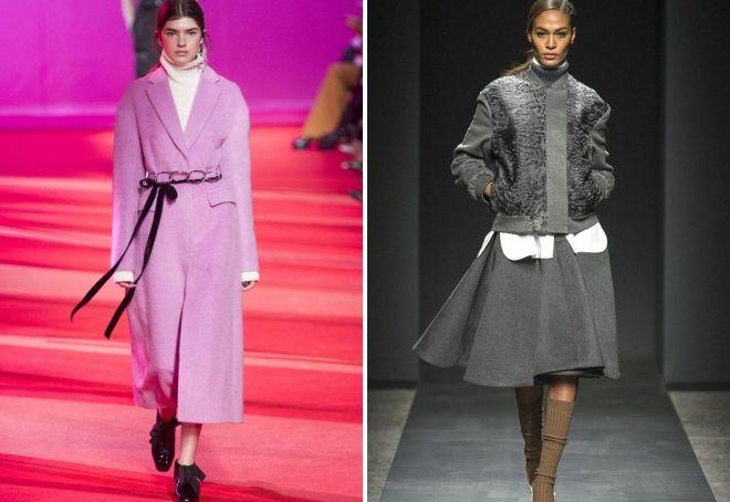 мода 2019-2020 года фото в женской одежде: пальто розовое длина миди короткая серая курточка
