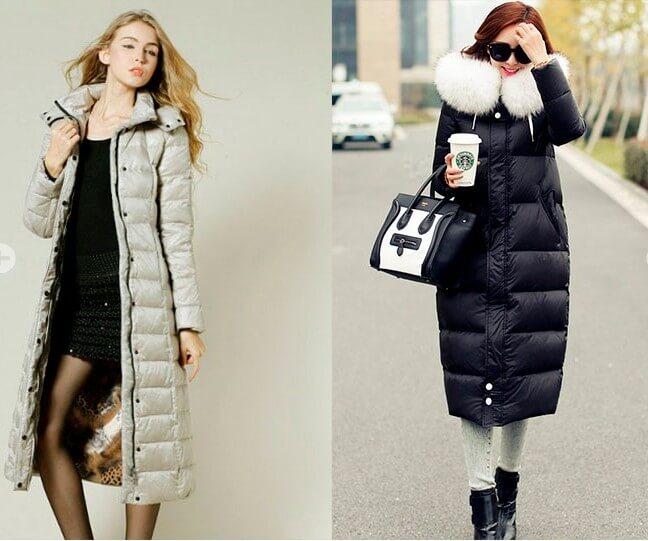 мода 2019-2020 года фото в женской одежде: пуховик серебристый длина миди черный с белым воротом