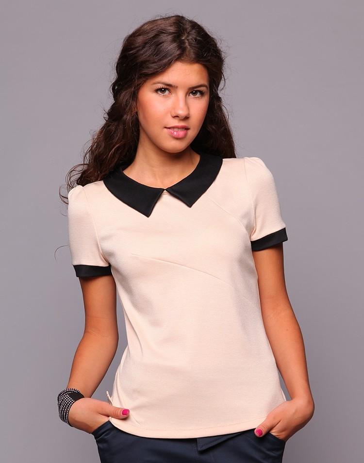 мода 2019-2020 года фото в женской одежде: блузка белая рукав короткий воротник черный