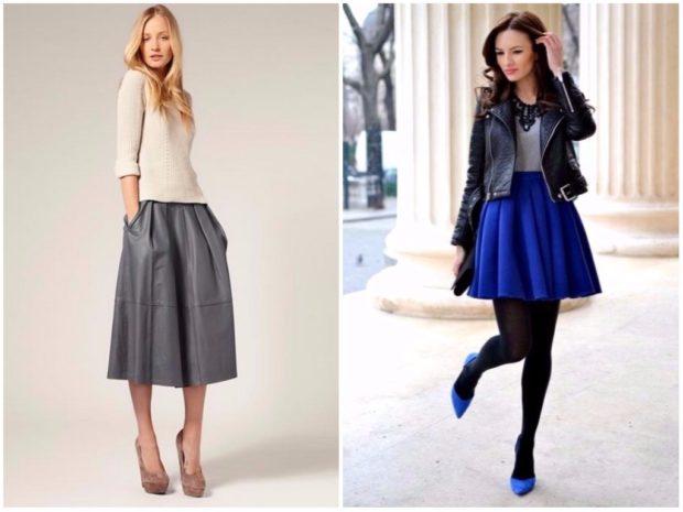 мода 2019-2020 года фото в женской одежде: серая юбка с карманами синяя с воланами короткая