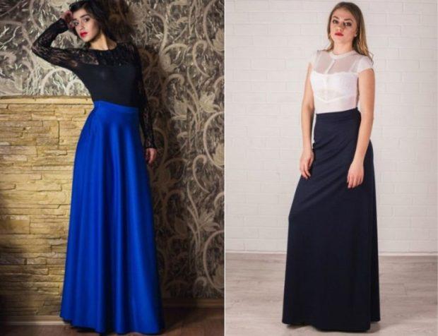 мода 2019-2020 года фото в женской одежде: синяя юбка длина макси темно-синяя макси