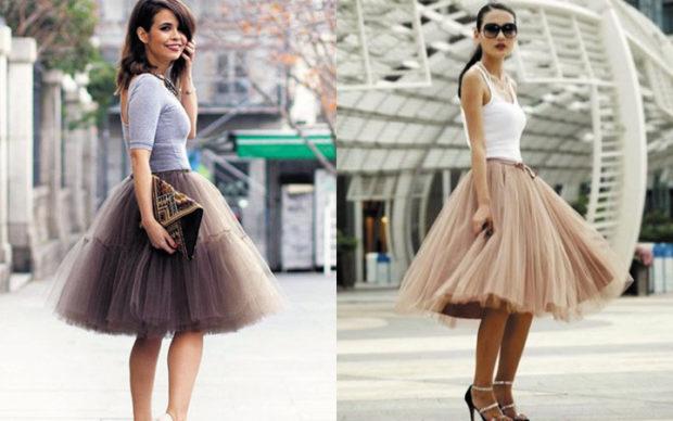 мода 2019-2020 года фото в женской одежде: юбка-пачка серая бежевая