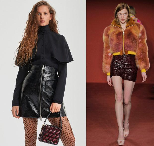 мода 2019-2020 года фото в женской одежде: кожаная юбка черная красная короткая