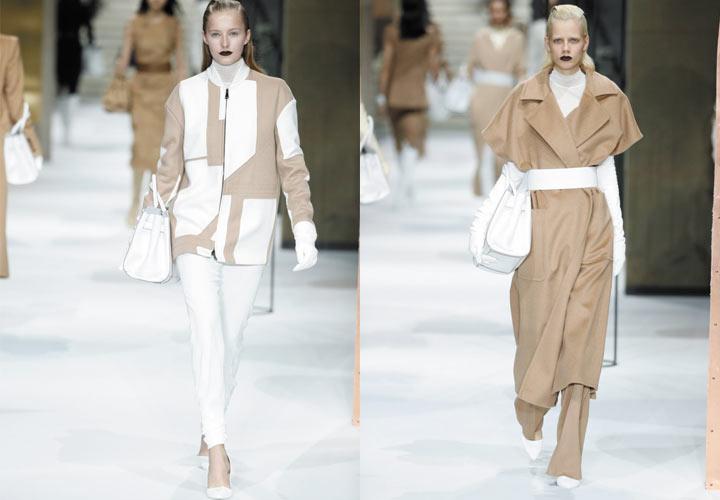 мода 2019-2020 года фото в женской одежде: белые брюки под жакет бежевый с белым под плащ