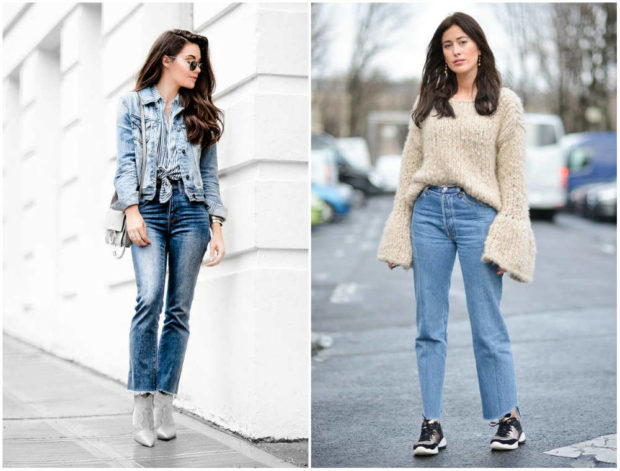 мода 2019-2020 года фото в женской одежде: джинсы синие потертые широкие
