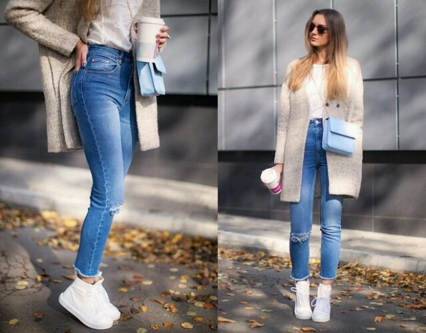 мода 2019-2020 года фото в женской одежде: джинсы синие короткие