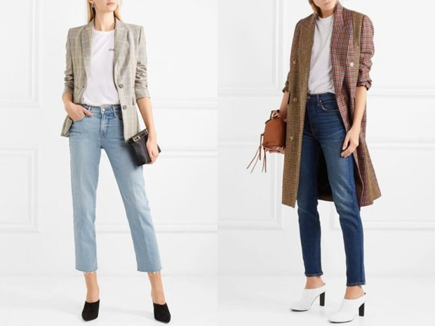 мода 2019-2020 года фото в женской одежде: джинсы короткие голубые синие классические