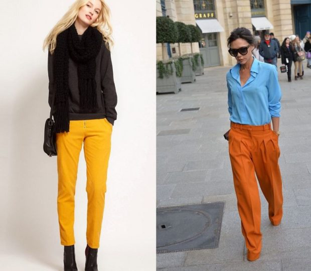 мода 2019-2020 года фото в женской одежде: брюки желтые короткие оранжевые широкие