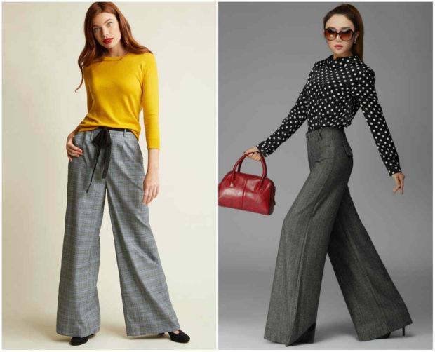 мода 2019-2020 года фото в женской одежде: брюки серые в клетку широкие серые клеш