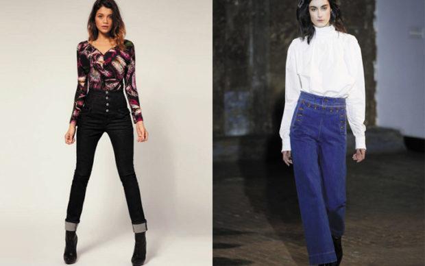 мода 2019-2020 года фото в женской одежде: брюки с высокой талией черные синие широкие