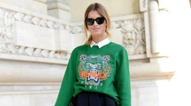 мода 2019-2020 года фото в женской одежде: свитшот зеленый с рисунком тигр