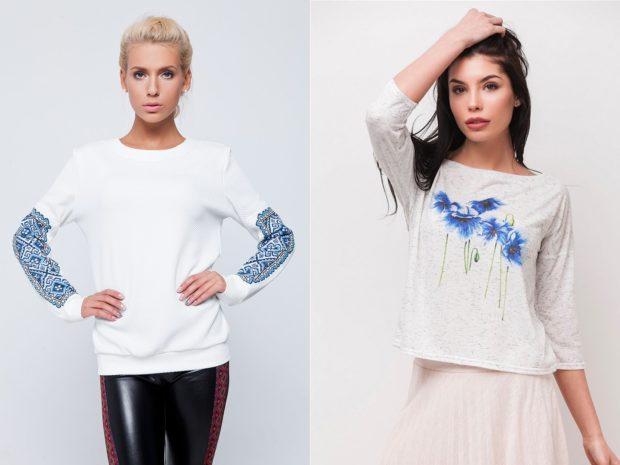 мода 2019-2020 года фото в женской одежде: свитшоты белые с рисунками синего цвета