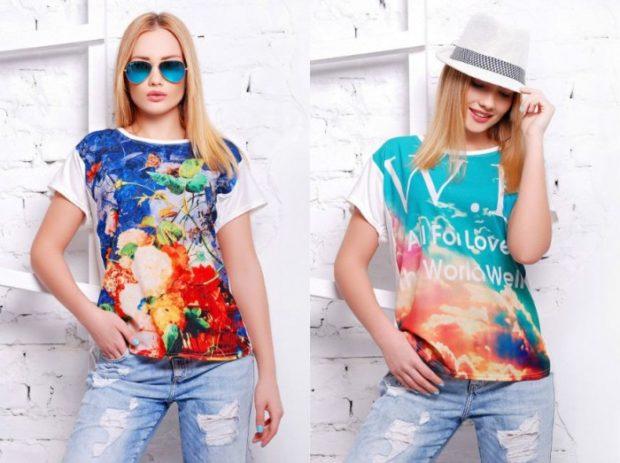мода 2019-2020 года фото в женской одежде: футболки яркие цветные