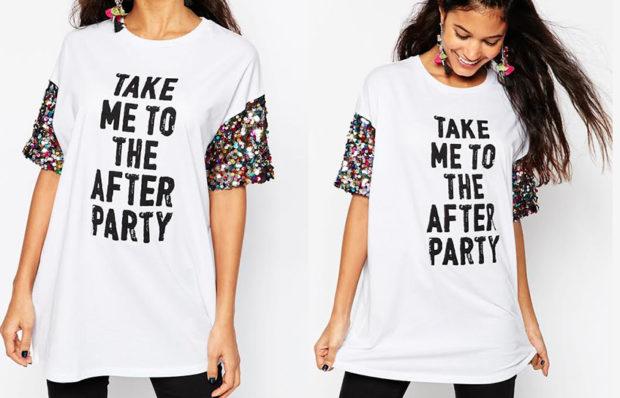 мода 2019-2020 года фото в женской одежде: футболка белая с надписями рукав цветной широкая