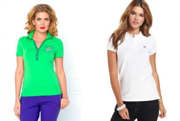 мода 2019-2020 года фото в женской одежде: футболка салатовая белая с воротничком