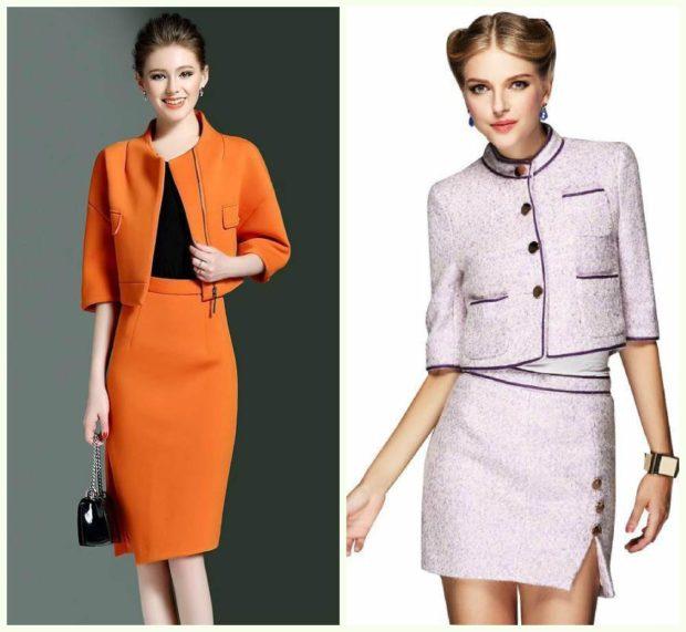 мода 2019-2020 года фото в женской одежде: костюмы пиджак с юбкой оранжевый нежно-розовый