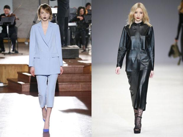 мода 2019-2020 года фото в женской одежде: костюм брючный голубой кожаный черный