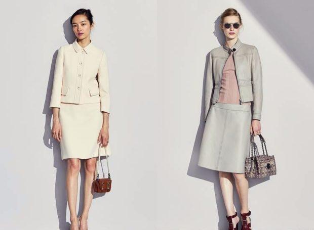 мода 2019-2020 года фото в женской одежде: костюмы юбка пиджак белый серый кожаный